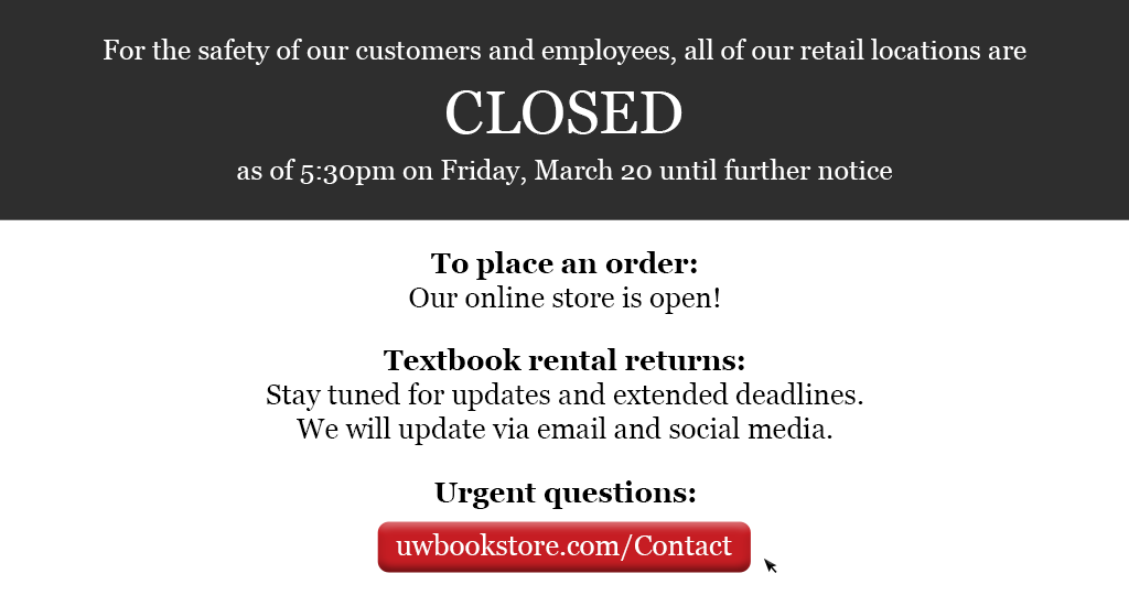 For the safety of our customers and employees, all retail locations are closed as of 5:30pm on Friday, March 20. Online orders open. Contact us with urgent questions.
