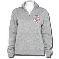 League Women's Bucky Badger ¼ Zip Sweatshirt (Gray)