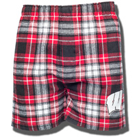 Boxercraft Wisconsin Badger Flannel Shorts (Red/Black/White)