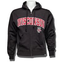 Gear for Sports Wisconsin Full Zip Sweatshirt 3X (Black)