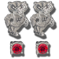 Dayna U Bucky Badger Earring Two Pack (Red/Silver)