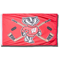 Sewing Concepts Wisconsin Badgers Hockey Flag (Red/White)*