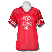 Top Promotions Women's Glitter Bucky Badger Jersey (Red)