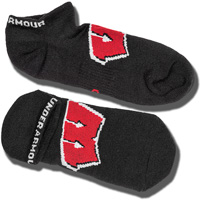 Under Armour Wisconsin Badger No Show Socks (Black)