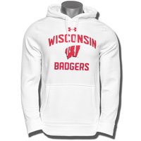 Under Armour WI Badgers Fleece Hooded Sweatshirt (White)