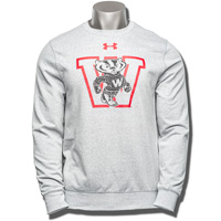 Under Armour Wisconsin Badgers Triblend Fleece Crew (Gray)