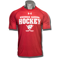Under Armour WI Badgers Hockey Tech Tee (Red) 3X