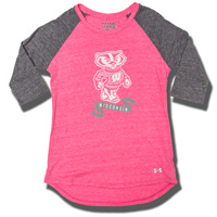 Under Armour Girl's WI Badgers Triblend Baseball Tee (Pink)*