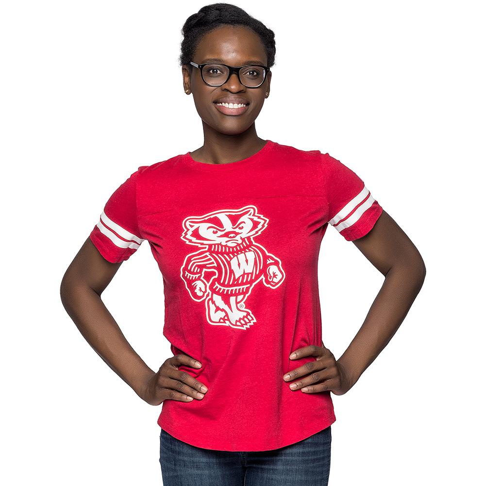 League women 39 s bucky badger t shirt red university for Wisconsin badgers shirt women s