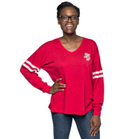 Boxercraft Women's Wisconsin V-Neck Pom Pom LongSleeve (Red)