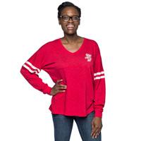 Boxercraft Women's Wisconsin V-Neck Pom Pom LongSleeve (Red)