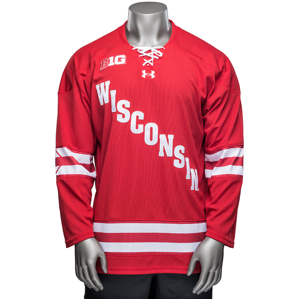 Under armour wi replica hockey jersey red university for Under armor hockey shirt
