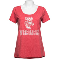 '47 Brand Women's Bucky Badger WI T-Shirt (Vintage Red) *