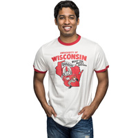 '47 Brand Vintage Bucky Badger Ringer T-Shirt (White/Red)