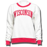League Women's Wisconsin Crew Neck Sweatshirt (Cream/Red)*