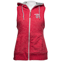 Antigua Women's Wisconsin Hooded Vest (Red/Silver) *