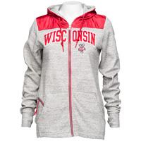 Antigua Women's Wisconsin Full Zip Jacket (Red/Gray) *