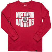 '47 Brand Youth Vault Wisconsin Badgers Long Sleeve (Red)