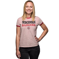 '47 Brand Women's Wisconsin Striped Tee (White/Red) *