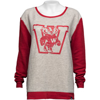 '47 Brand Women's Vault Bucky Badger Sweater (Gray/Red) *