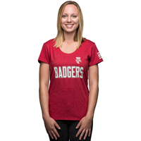 '47 Brand Women's Bucky Badger Scoop Neck T-Shirt (Red) *