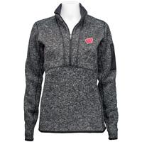 Antigua Women's Wisconsin ¼ Zip Sweater (Black)