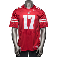 Under Armour Wisconsin Replica Football Jersey (Red) 3X