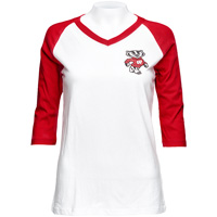 League Women's Bucky Badger V-Neck Tee (Red/White)