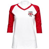 League Women's Bucky Badger V-Neck Tee (Red/White)