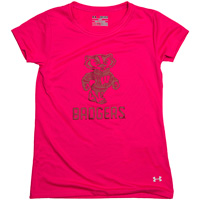 Under Armour Youth Girl's Bucky Badger T-Shirt (Pink)