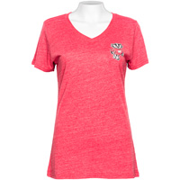 Boxercraft Women's Bucky Badger V-Neck T-Shirt (Vintage Red)