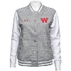Under Armour Women's Iconic Letterman's Jacket (Gray/White* thumbnail