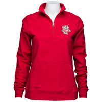 E5 Women's Rhinestone Wisconsin Badgers ¼ Zip (Red)