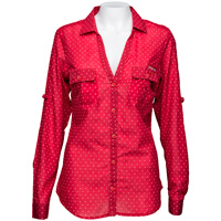 Columbia Women's Poke A Dot Wisconsin Button Up (Red)