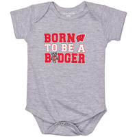 College Kids Born To Be A Badger Onesie (Gray)