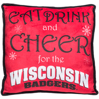 Forever Collectibles Wisconsin Holiday Throw Pillow (Red)