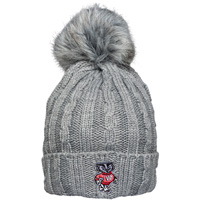 Logofit Bucky Badger Fur Puff Knit Hat (Gray)