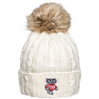 Logofit Bucky Badger Fur Puff Knit Hat (Cream)
