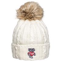Logofit Bucky Badger Fur Puff Knit Hat (Cream)