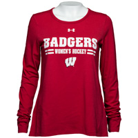 Under Armour Wisconsin Women's Hockey Long Sleeve (Red)