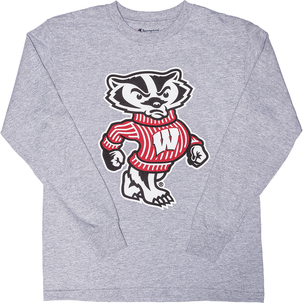 b72b0ec3a5e3 Champion Youth Bucky Badger Long Sleeve T-Shirt (Gray)