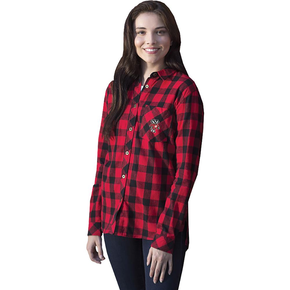 b96960817ce Boxercraft Women s Bucky Badger Flannel Shirt (Red)