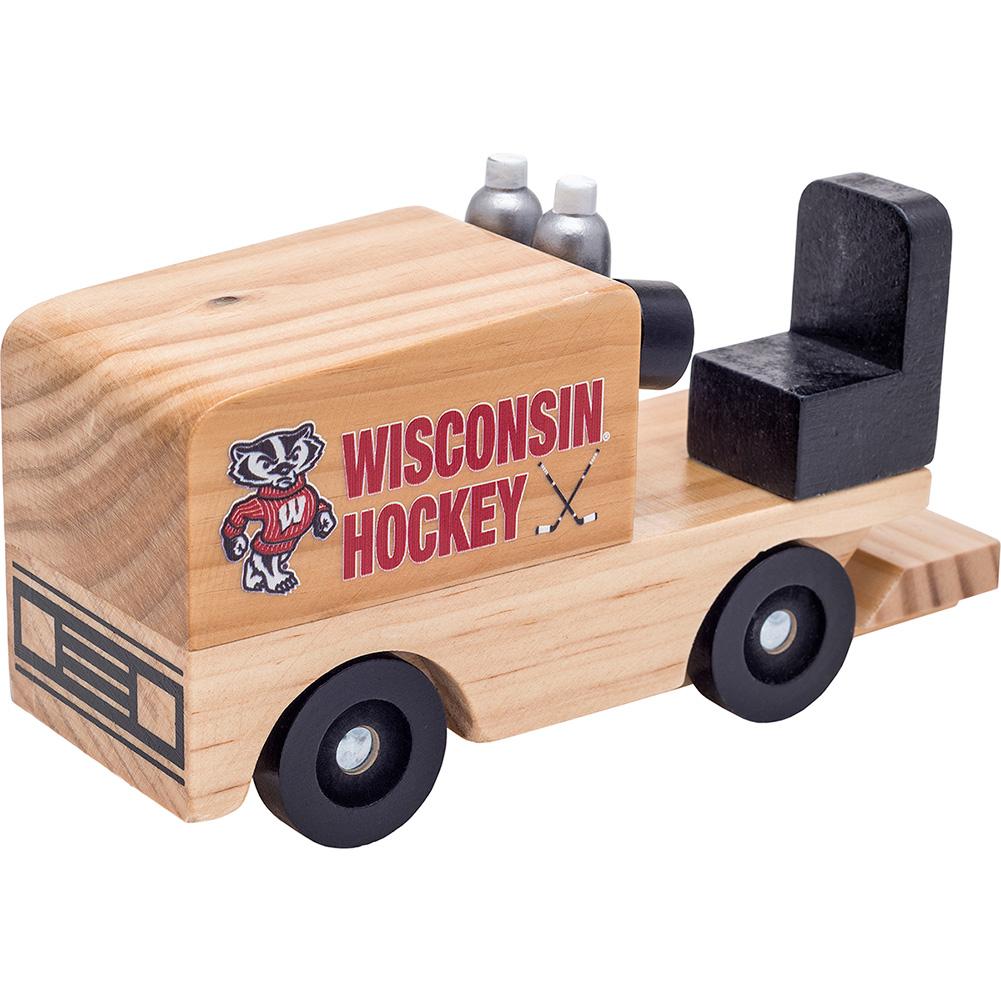 Neil Enterprises Inc Wooden Bucky Badger Hockey Zamboni