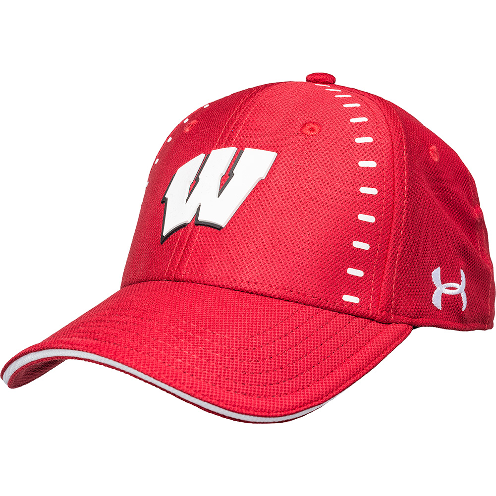 Under Armour Wisconsin Sideline Fitted Hat Red University Book Store