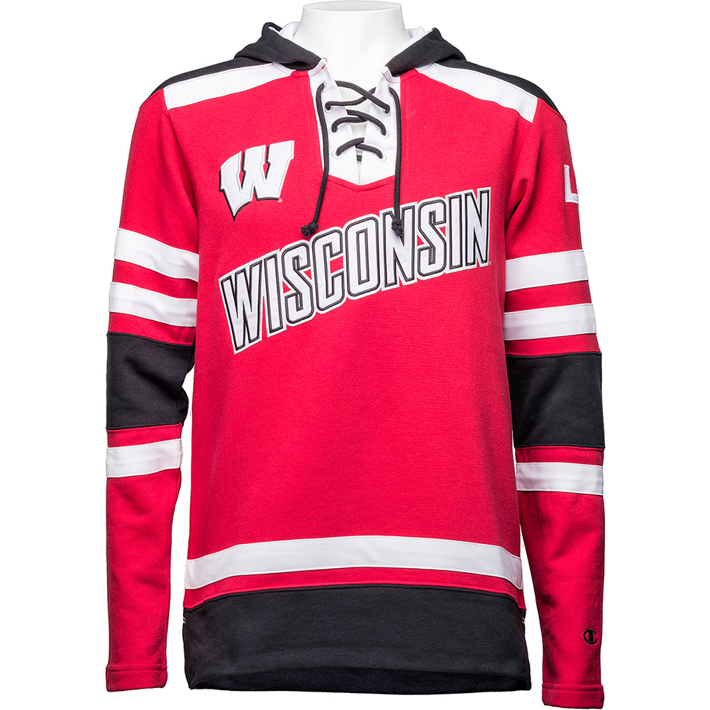 Champion Wisconsin Hockey Hooded Sweatshirt (Red Black) thumbnail ... aaf233028