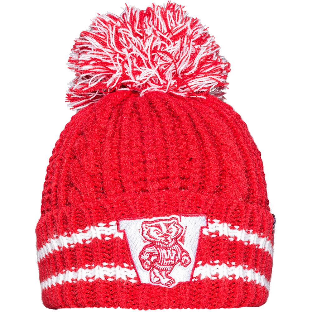 47 Brand Women s Wisconsin Pom Pom Knit Hat (Red White)  89d99a3453