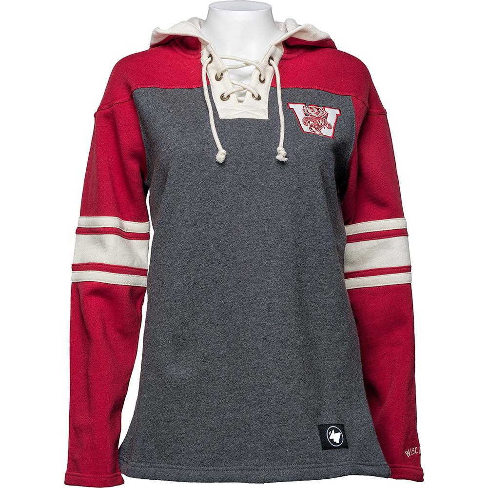 47 Brand Women s Wisconsin Vault Lace Up Hood (Gray)  bfcd64c89c