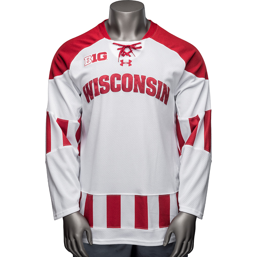 Under Armour Wisconsin 2018-2019 Hockey Jersey (White) thumbnail ... a2aebaf908d