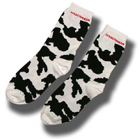 For Bare Feet Wisconsin Cow Socks (Black/White)