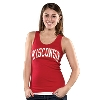 Top Promotions Women's Wisconsin Ribbed Tank Top (Red)